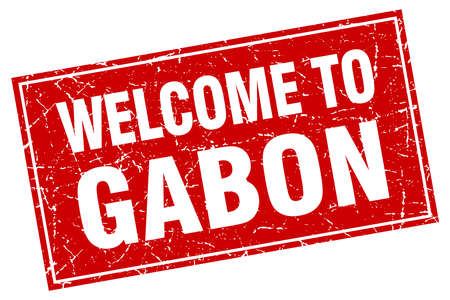 gabon: Gabon red square grunge welcome to stamp