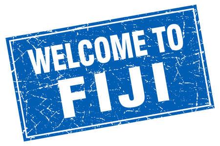 fiji: Fiji blue square grunge welcome to stamp