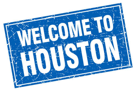 houston: Houston blue square grunge welcome to stamp
