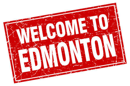 edmonton: Edmonton red square grunge welcome to stamp Illustration