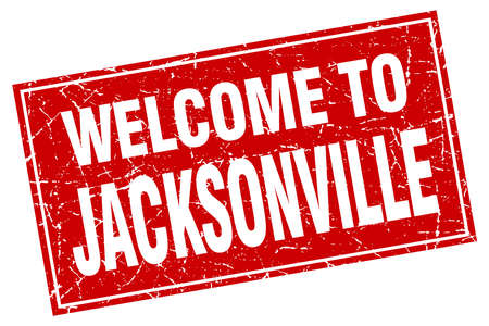 jacksonville: Jacksonville red square grunge welcome to stamp