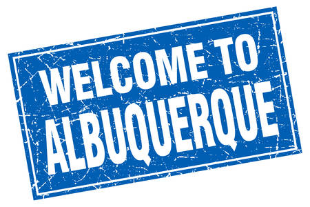 albuquerque: Albuquerque blue square grunge welcome to stamp