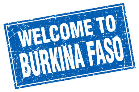 isles: Burkina Faso blue square grunge welcome to stamp