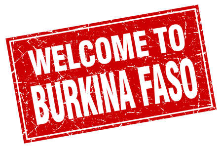 isles: Burkina Faso red square grunge welcome to stamp