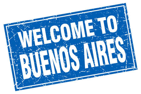 aires: Buenos Aires blue square grunge welcome to stamp