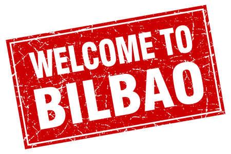 bilbao: Bilbao red square grunge welcome to stamp