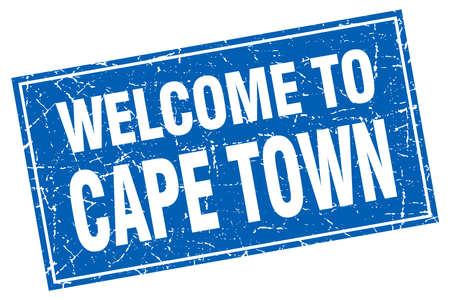 cape town: Cape Town blue square grunge welcome to stamp Illustration