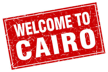 cairo: Cairo red square grunge welcome to stamp Illustration