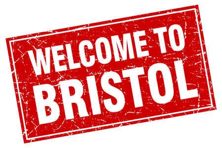 bristol: Bristol red square grunge welcome to stamp