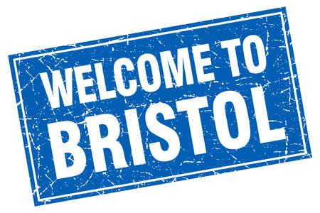 bristol: Bristol blue square grunge welcome to stamp