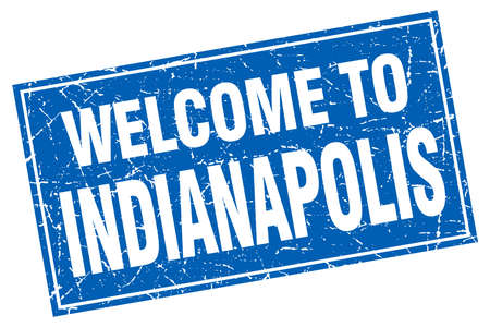 indianapolis: Indianapolis blue square grunge welcome to stamp Illustration