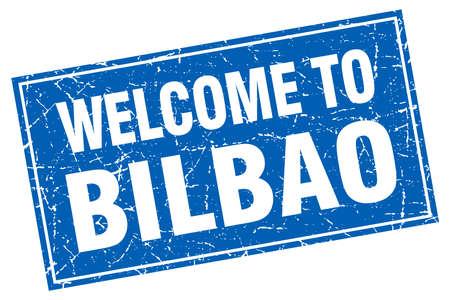 bilbao: Bilbao blue square grunge welcome to stamp