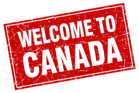 canada stamp: Canada red square grunge welcome to stamp Illustration