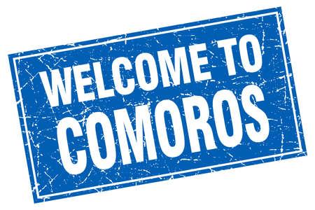 comoros: Comoros blue square grunge welcome to stamp