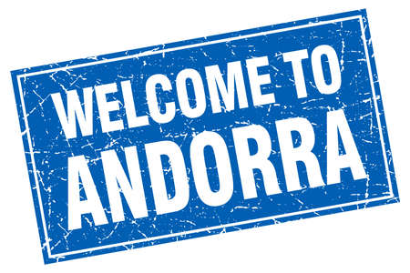 andorra: Andorra blue square grunge welcome to stamp