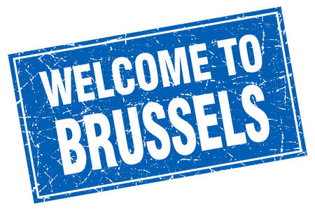 brussels: Brussels blue square grunge welcome to stamp Illustration