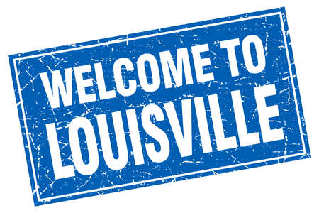 louisville: Louisville blue square grunge welcome to stamp Illustration