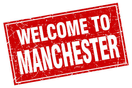 manchester: Manchester red square grunge welcome to stamp