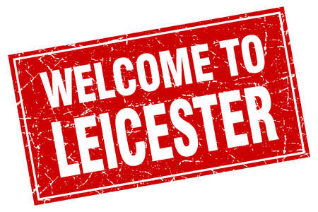 leicester: Leicester red square grunge welcome to stamp