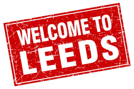 leeds: Leeds red square grunge welcome to stamp Illustration