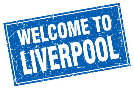 liverpool: Liverpool blue square grunge welcome to stamp