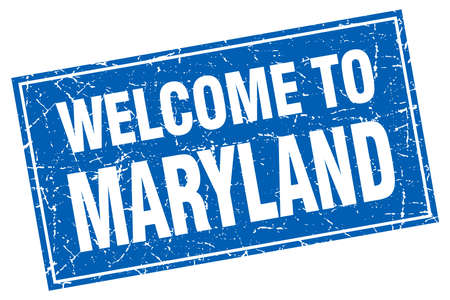 maryland: Maryland blue square grunge welcome to stamp