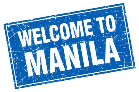 manila: Manila blue square grunge welcome to stamp Illustration