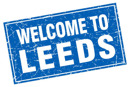 leeds: Leeds blue square grunge welcome to stamp