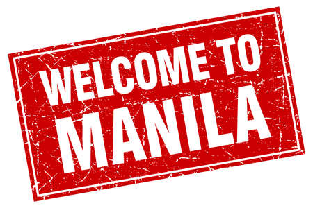 manila: Manila red square grunge welcome to stamp Illustration