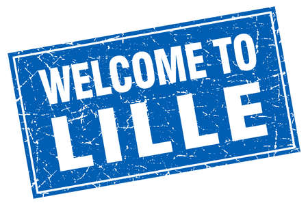 lille: Lille blue square grunge welcome to stamp