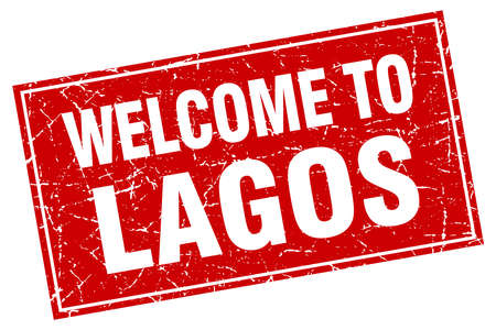 lagos: Lagos red square grunge welcome to stamp Illustration