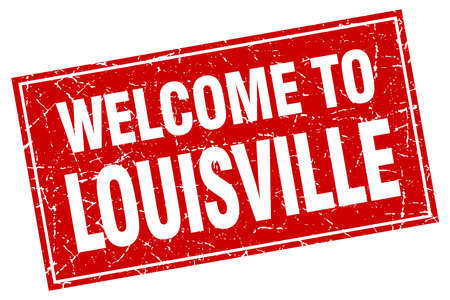 louisville: Louisville red square grunge welcome to stamp