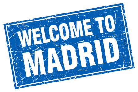 Madrid blue square grunge welcome to stamp
