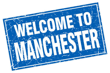 manchester: Manchester blue square grunge welcome to stamp