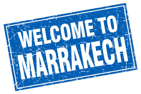 marrakech: Marrakech blue square grunge welcome to stamp