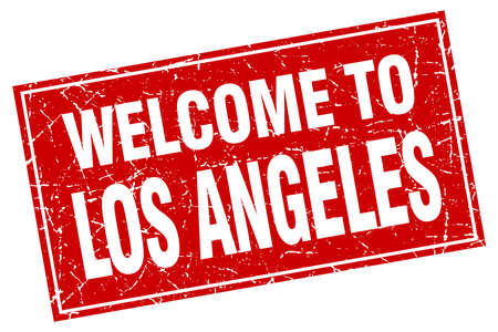 angeles: Los Angeles red square grunge welcome to stamp Illustration