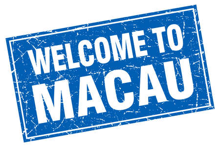 macau: Macau blue square grunge welcome to stamp Illustration
