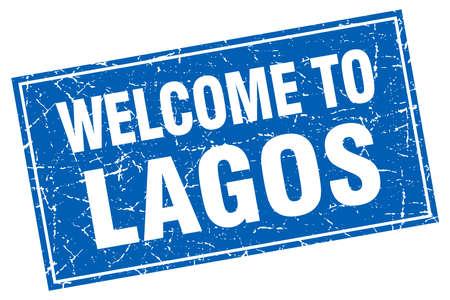 lagos: Lagos blue square grunge welcome to stamp Illustration