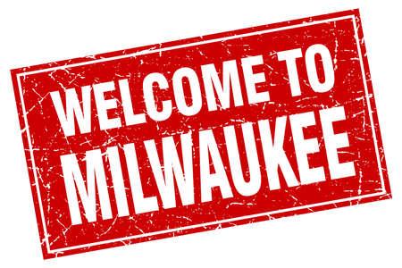 milwaukee: Milwaukee red square grunge welcome to stamp