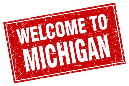 michigan: Michigan red square grunge welcome to stamp