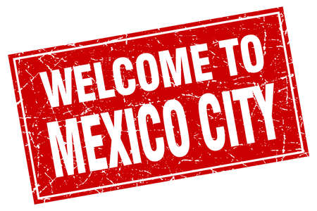 mexico city: Mexico City red square grunge welcome to stamp Illustration