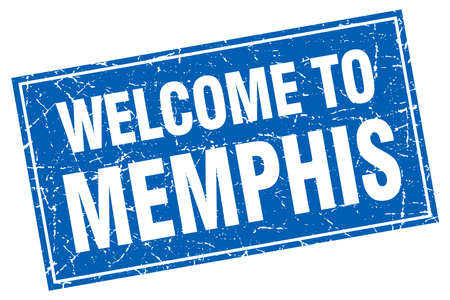 memphis: Memphis blue square grunge welcome to stamp Illustration
