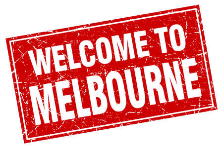 melbourne: Melbourne red square grunge welcome to stamp