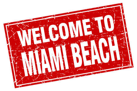 miami: Miami Beach red square grunge welcome to stamp