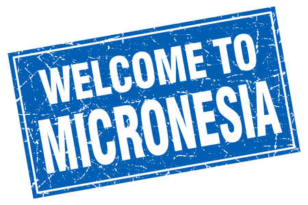 micronesia: Micronesia blue square grunge welcome to stamp Illustration