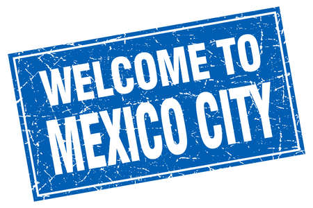mexico city: Mexico City blue square grunge welcome to stamp