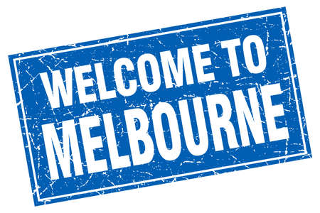 melbourne: Melbourne blue square grunge welcome to stamp Illustration