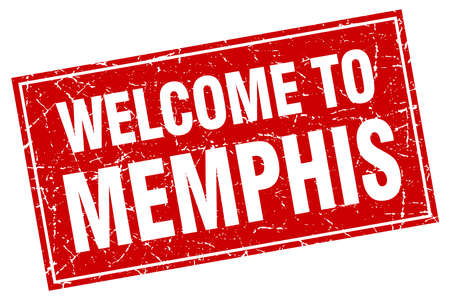 memphis: Memphis red square grunge welcome to stamp Illustration