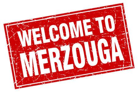 merzouga: Merzouga red square grunge welcome to stamp Illustration