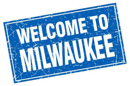 Milwaukee: Milwaukee blue square grunge welcome to stamp Illustration